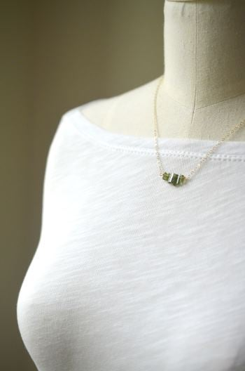 Image of Green tourmaline crystal necklace