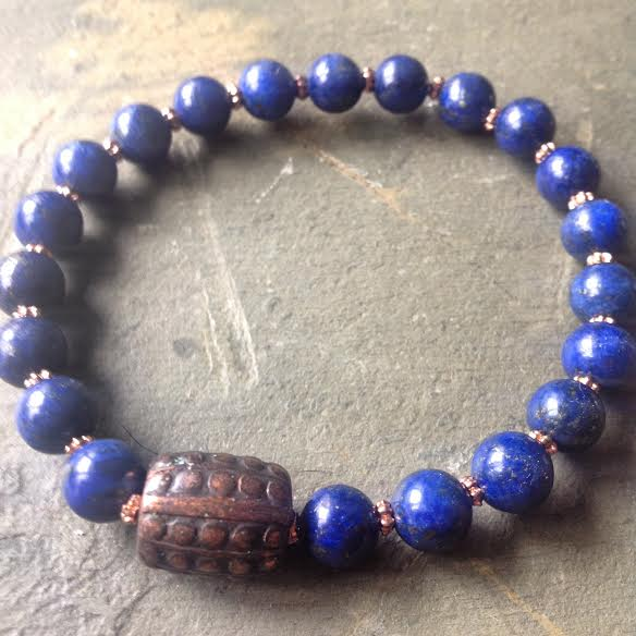 Image of Boost your immune system ~Lapis Lazuli Set with antique Copper bead and Brass Bead Chain