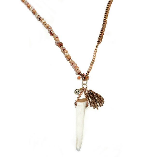 Image of Long Boho Gypsy Antler Necklace with Beads Chain and Tassel