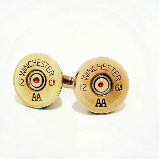 Image of 12 gauge Shotgun Mens Brass Cufflinks