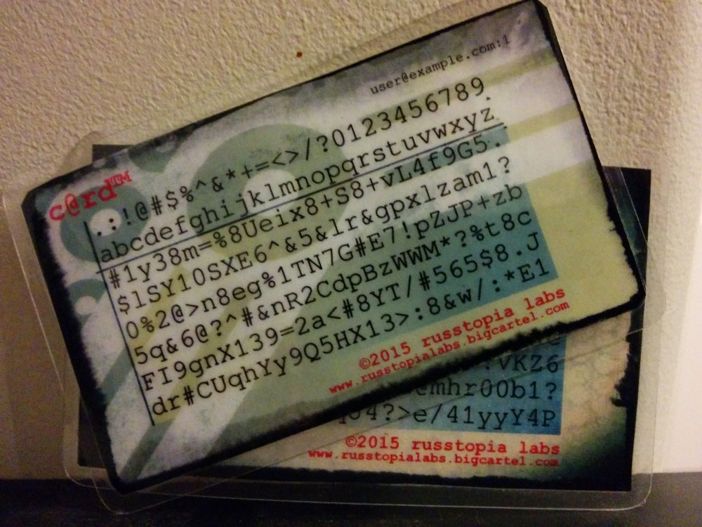 Image of c@rd™ Password generator/recall card