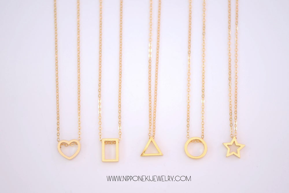 Image of Dainty Geometric Necklace in Gold or Sterling Silver - Triangle, Circle, Rectangle, Heart or Star