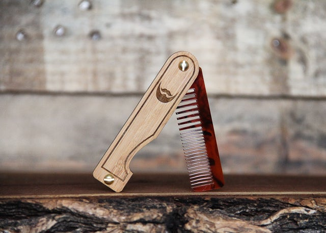 Image of Personalized Handmade Folding Wood Beard Comb - Tortoise Shell Acrylic