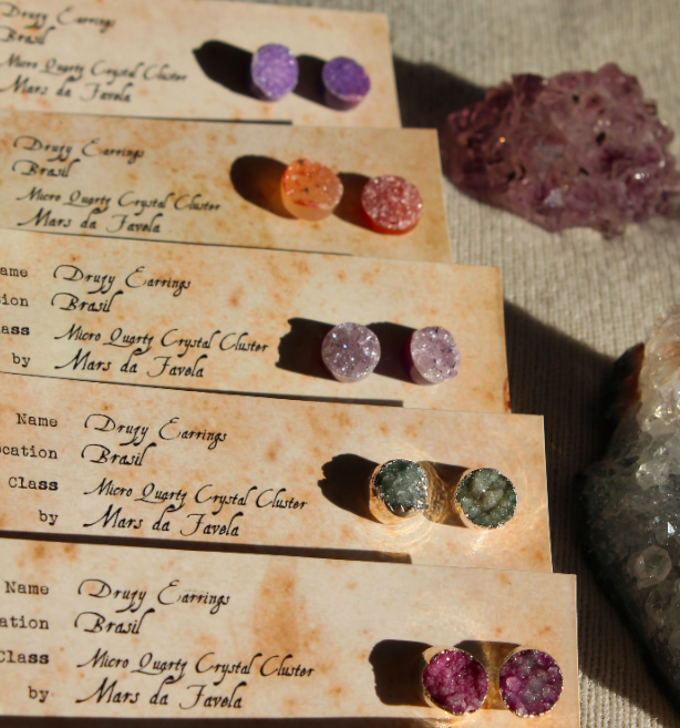 Image of Druzy Crystal Studs. Assorted colours