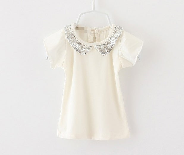 Image of Sequin Peter Pan collar blouse, Girls