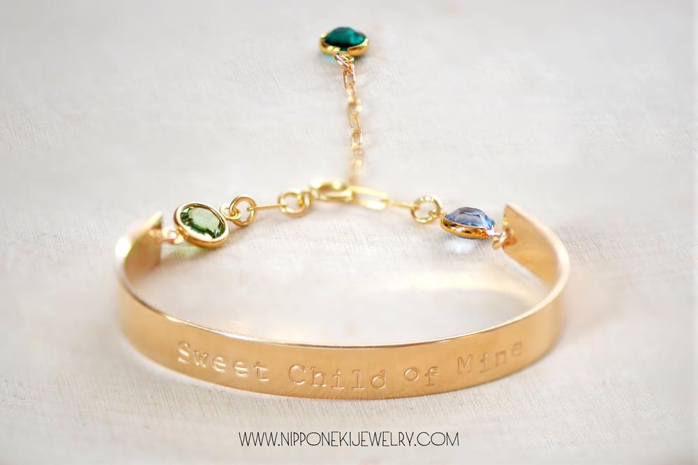Image of Gold Cuff Bar Bracelet with Birthstone - Long Bar Bracelet - Sleek & Modern Bracelet