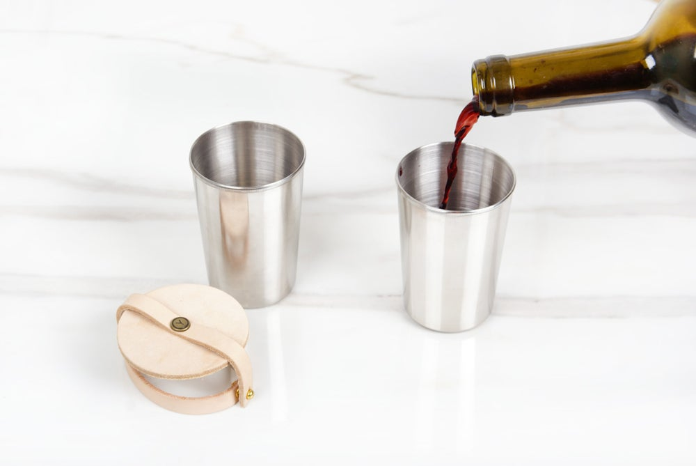 Image of Leather & Steel Cup Set