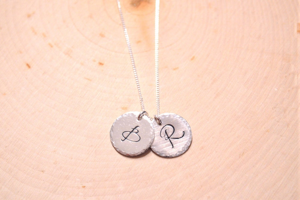 Image of Couples jewelry, personalized initial necklace, two custom initial