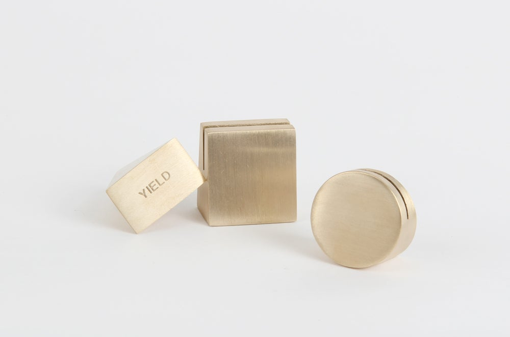Image of Brass Geo Stand - Set Of 3