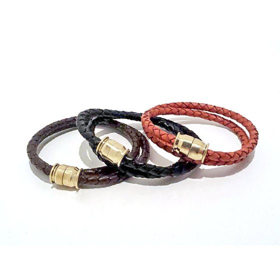Image of Unisex Braided Leather Wrap Bullet Bracelet Celebrity Gift at Emmy's