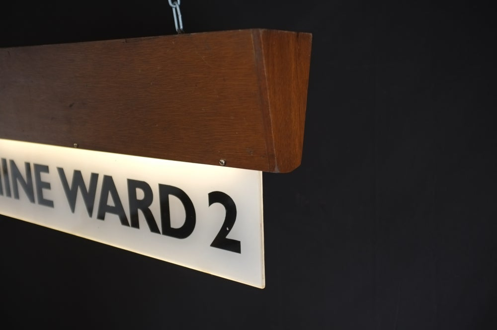 Image of Mid-Century Vintage Hospital Ward Sign Light.