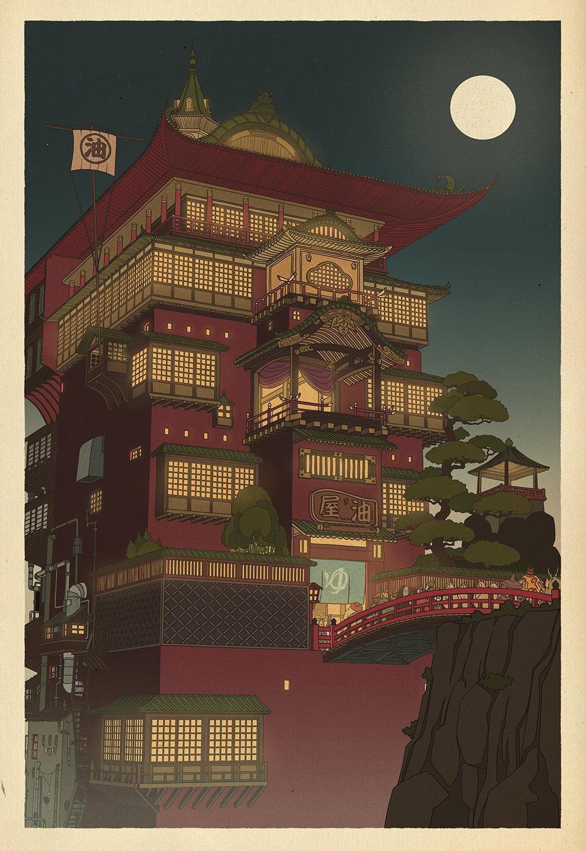 Studio Ghibli posters inspired by Japanese woodblock prints