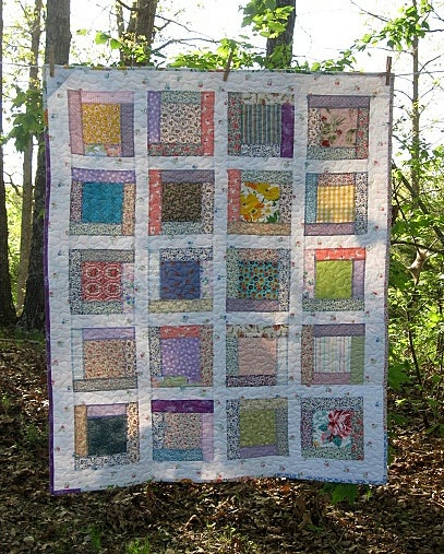 """Image of crib quilt, toddler quilt,baby girl farmhouse quilt, lap quilt, - 39"""" x 48"""" - reversible"""