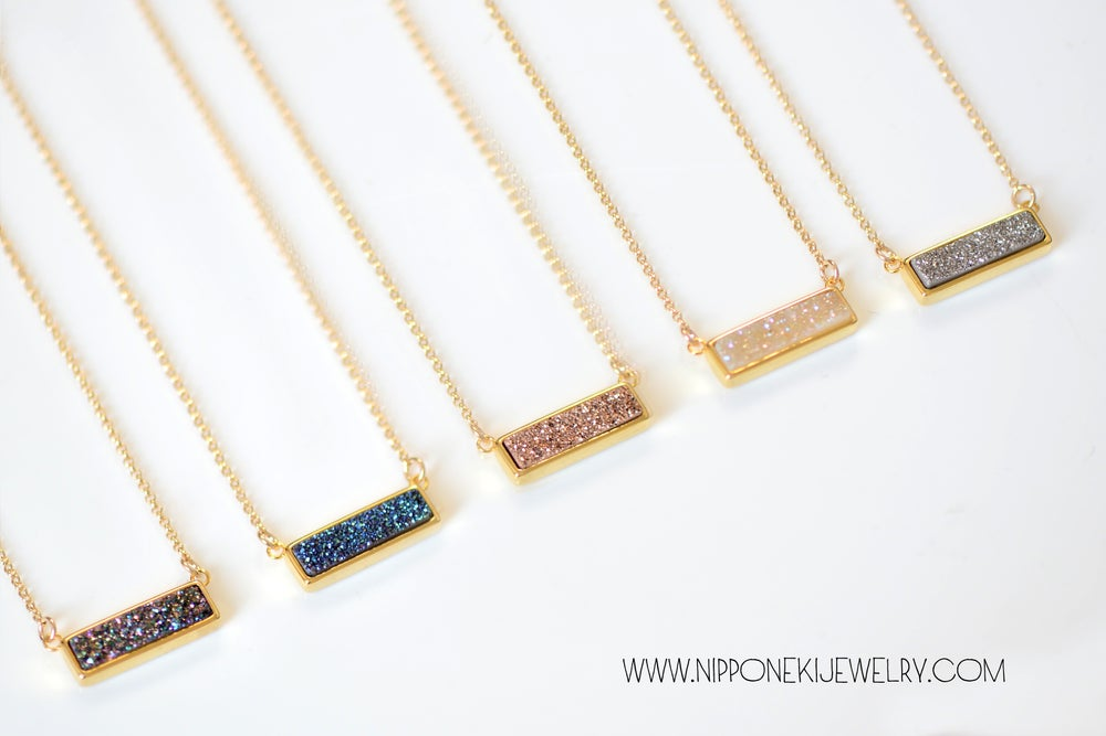 Image of BAR DRUZY NECKLACE - Gold BEZEL DRUZY NECKLACE