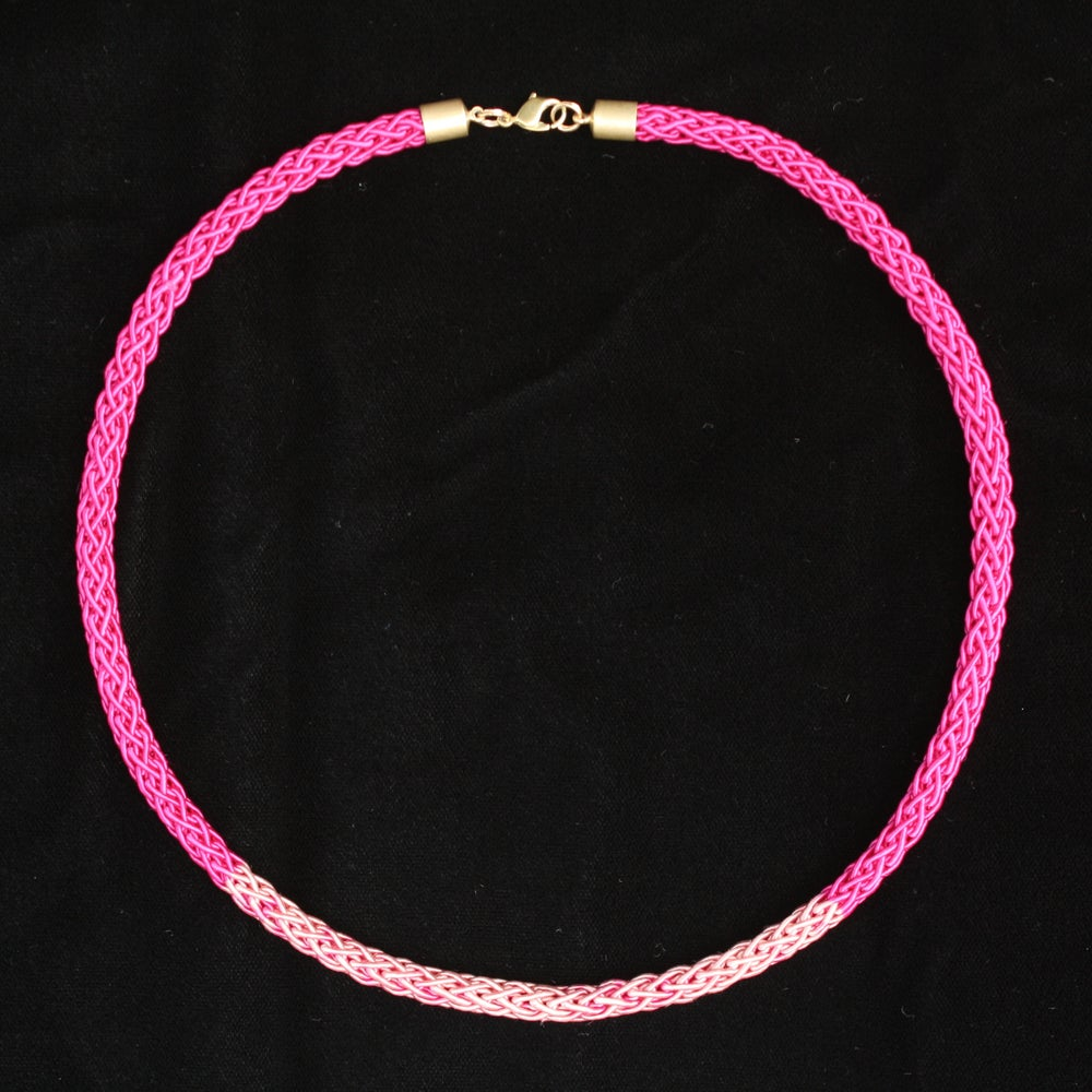 Image of Brass Pink Crochet Necklace Two Tone