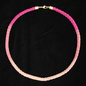 Image of Brass Pink Crochet Necklace Ombre