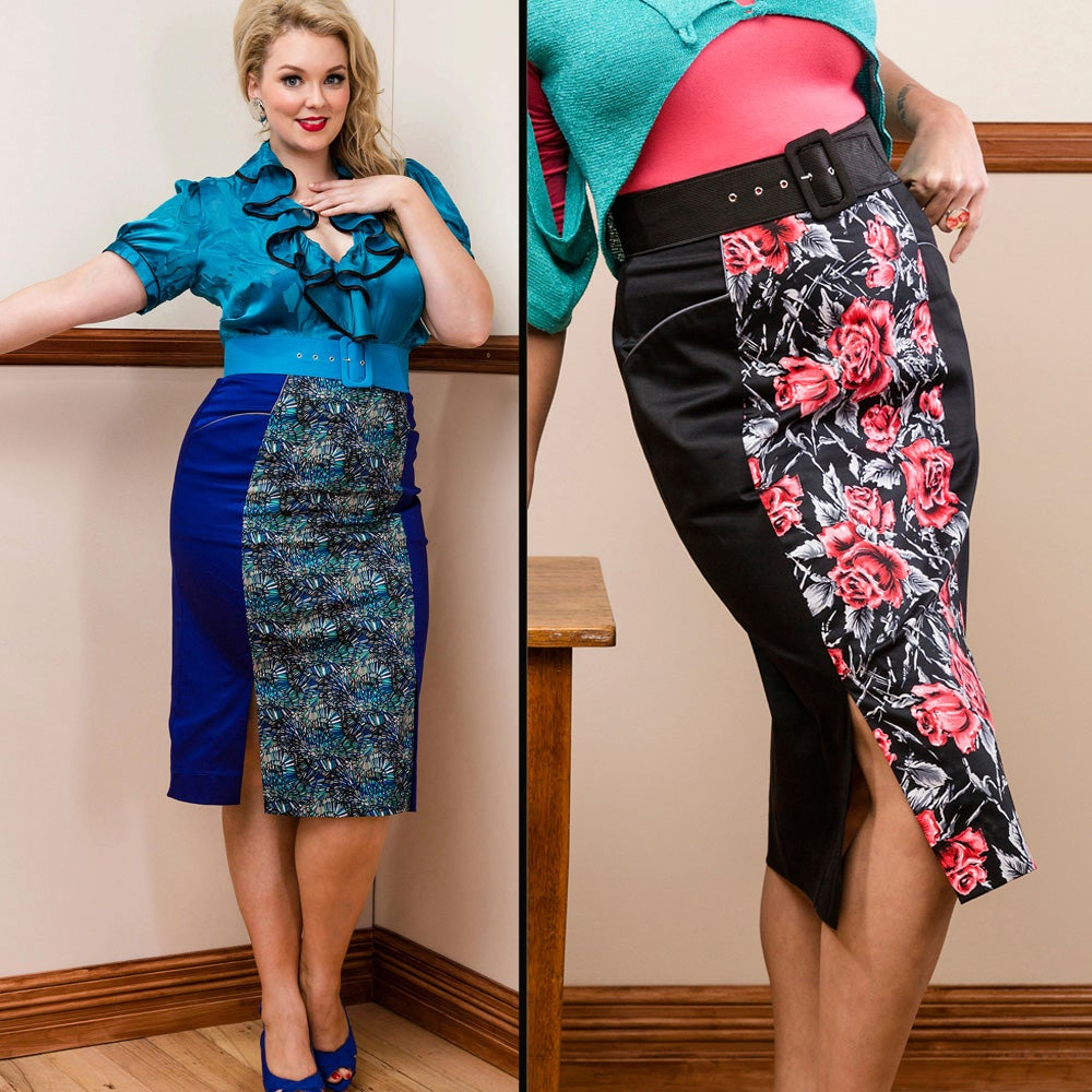 Image of SIMONETTA PENCIL SKIRT with contrast panel