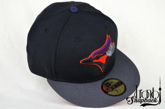 Image of TORONTO BLUE JAYS CUSTOM BLACK, GREY, RED & PURPLE NEW ERA 59FIFTY FITTED CAP