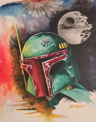 "Image of ""Boba Fett"" Star Wars Watercolor Series"