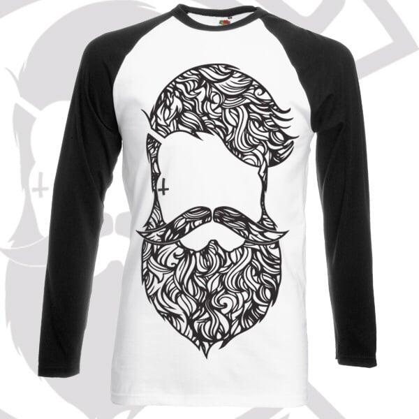 Image of Beard & Ink Large Patterned Logo Raglan Shirt