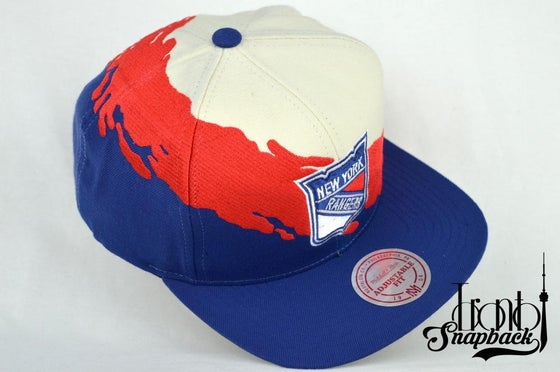 Image of NEW YORK RANGER GREAM/RED/ROYAL BLUE MITCHELL & NESS SPLASH SNAPBACK CAP