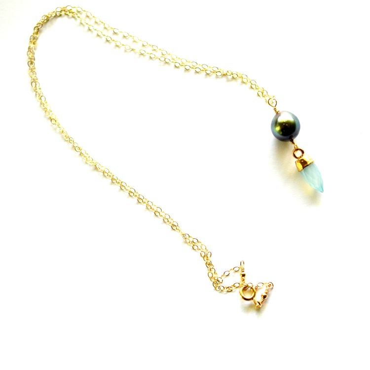 Image of Tahitian pearl necklace with gemstone spike