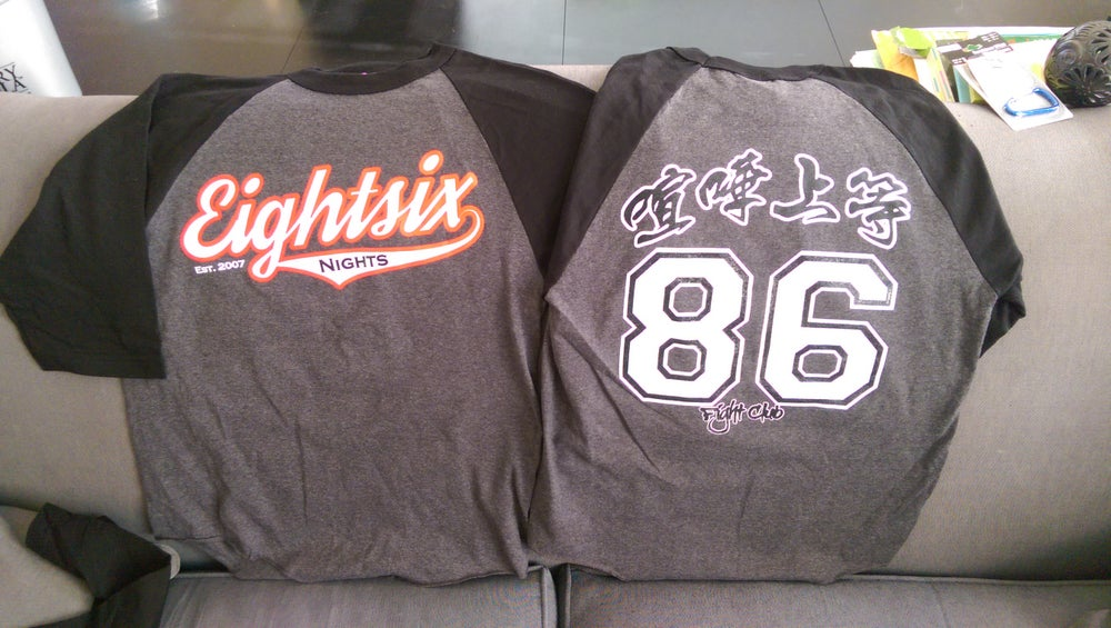 Image of 86 Nights X 86 Fight Club 3/4 Sleeve Black/Grey