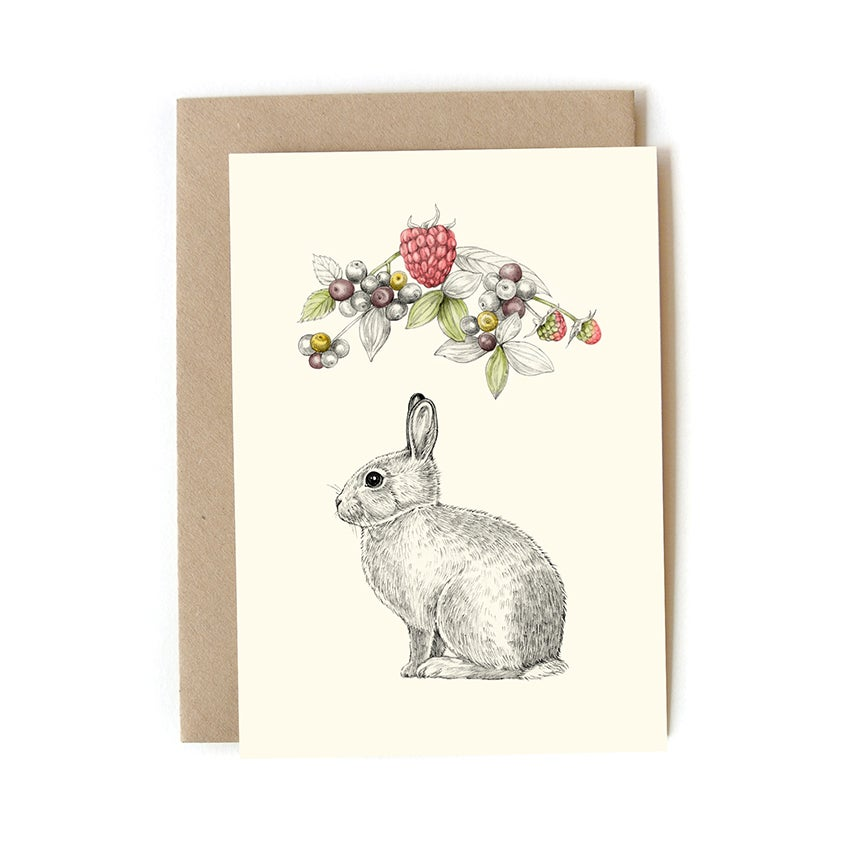 Image of Carte postale Lapin-fruits + enveloppe
