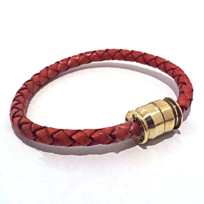 Image of Unisex Boho Braided Leather Bullet Bracelet