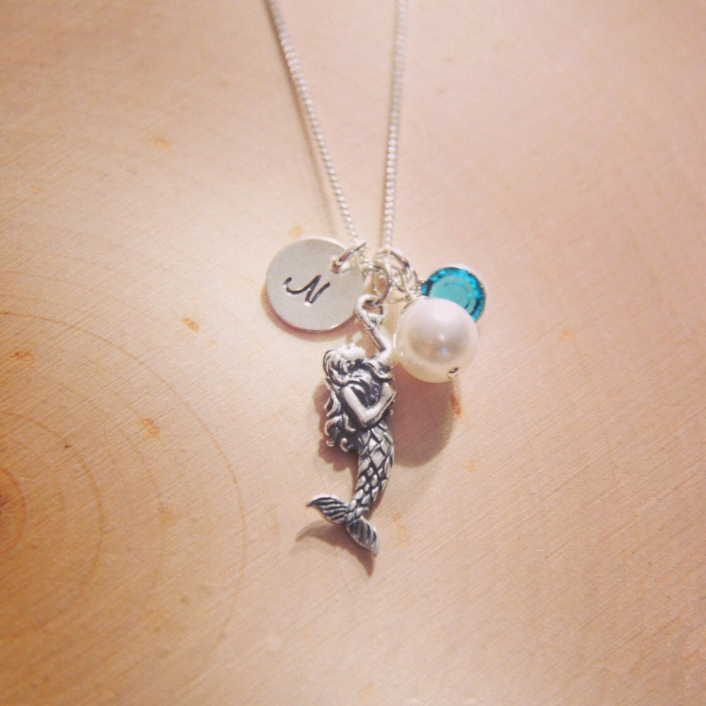 Image of Sterling Silver Mermaid Birthstone Necklace