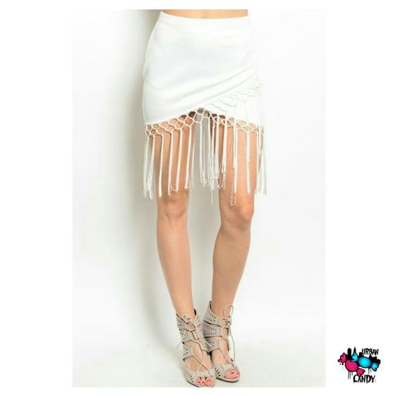 Image of Ivory Fringe Skirt