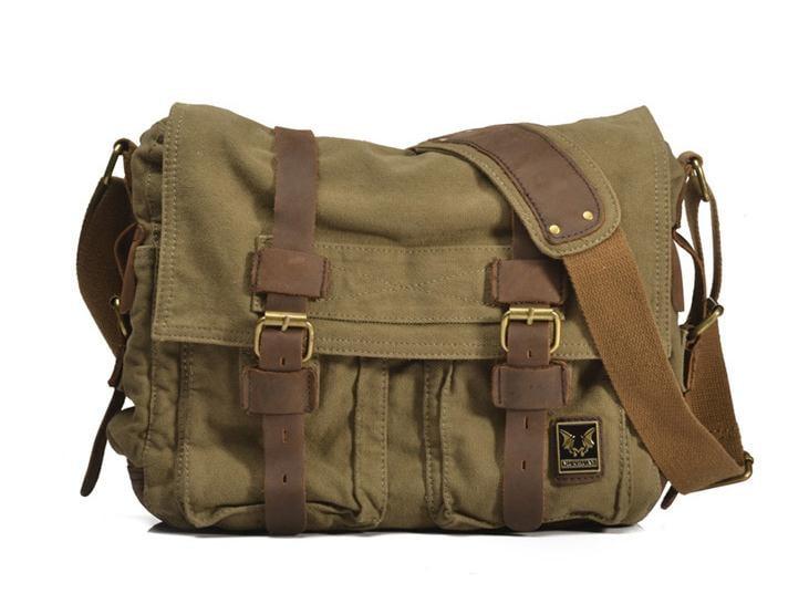 Image Of Vintage Green Leather Canvas Bag School Messenger Shoulder Laptop 2138