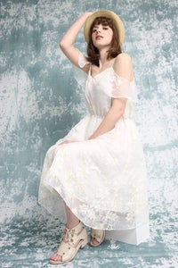 Image of Boho Bridal Lace Ivory Dress - Shoulder Sleeve - Handmade by Vivat Veritas