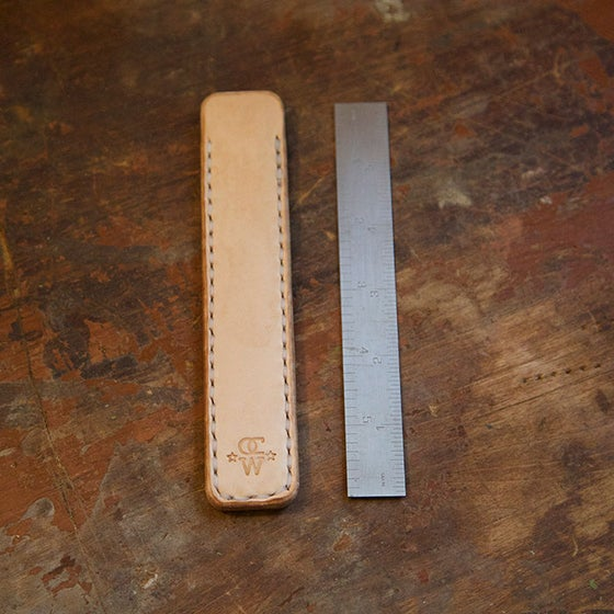 "Image of 6"" Tempered Steel Ruler & Leather Sheath"