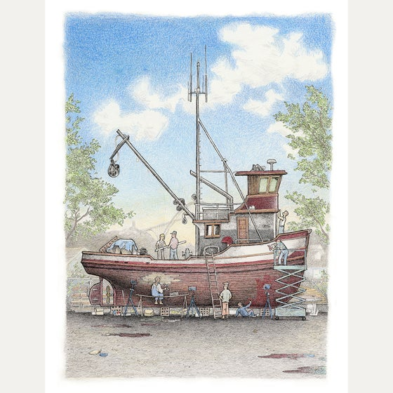 "Image of The Boat Yard 9"" X 12"""