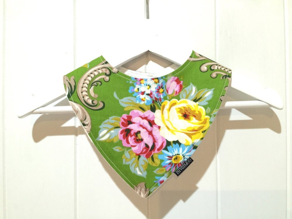 Image of Bandana Bib - Green Rose