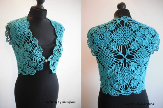 Image of crochet mint bridal bolero shrug size M
