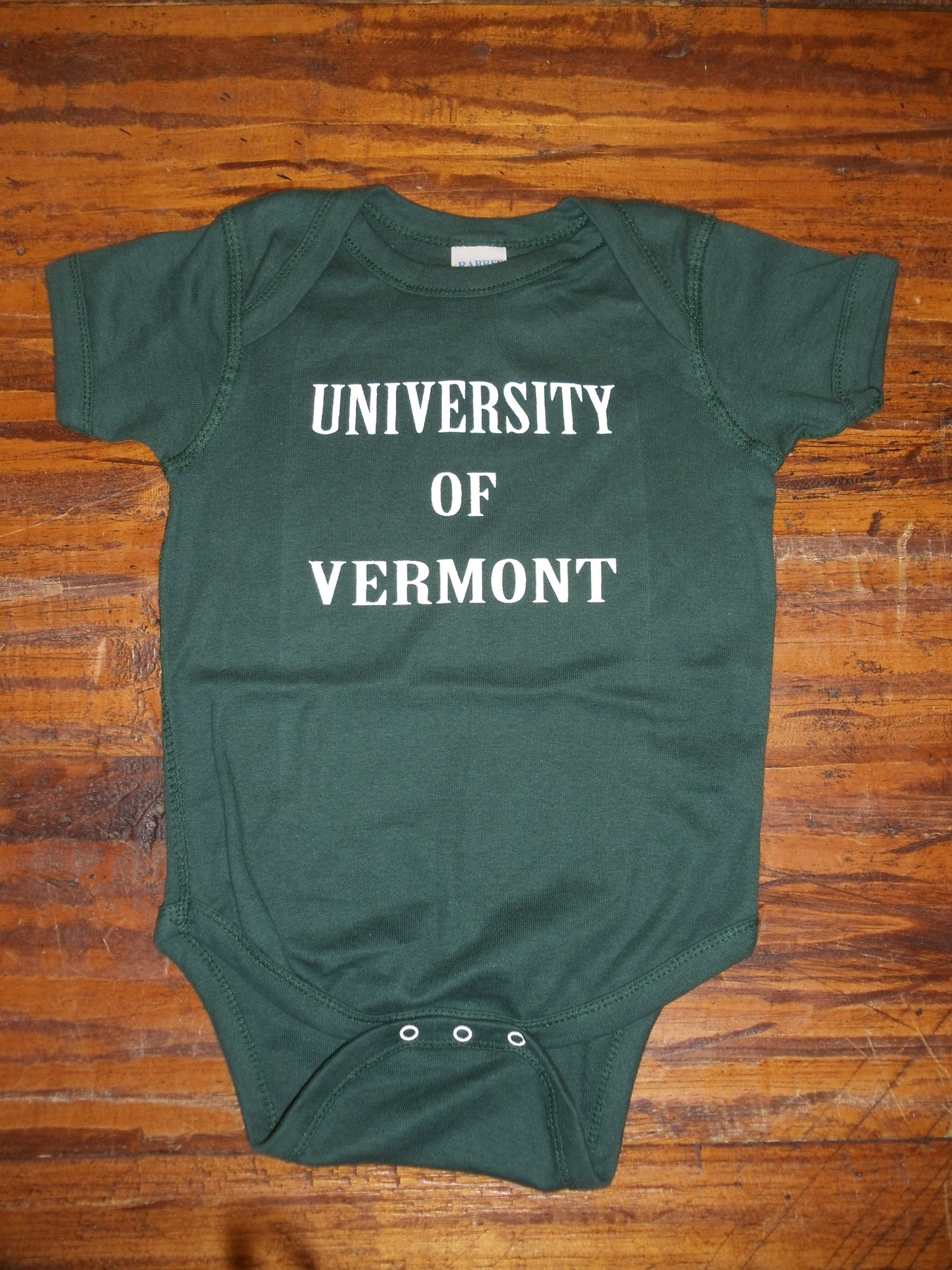 Image of University of Vermont Onesies w/ UVM Paw on back - VT Bodysuit - Toddler clothing - UVM kid clothes