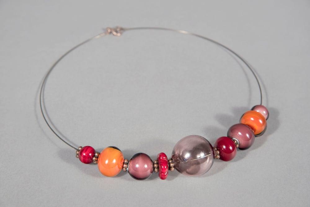 """Image of collana FRIDA ANTIQUA in perle di vetro """"a lume"""" e soffiato di Murano"""