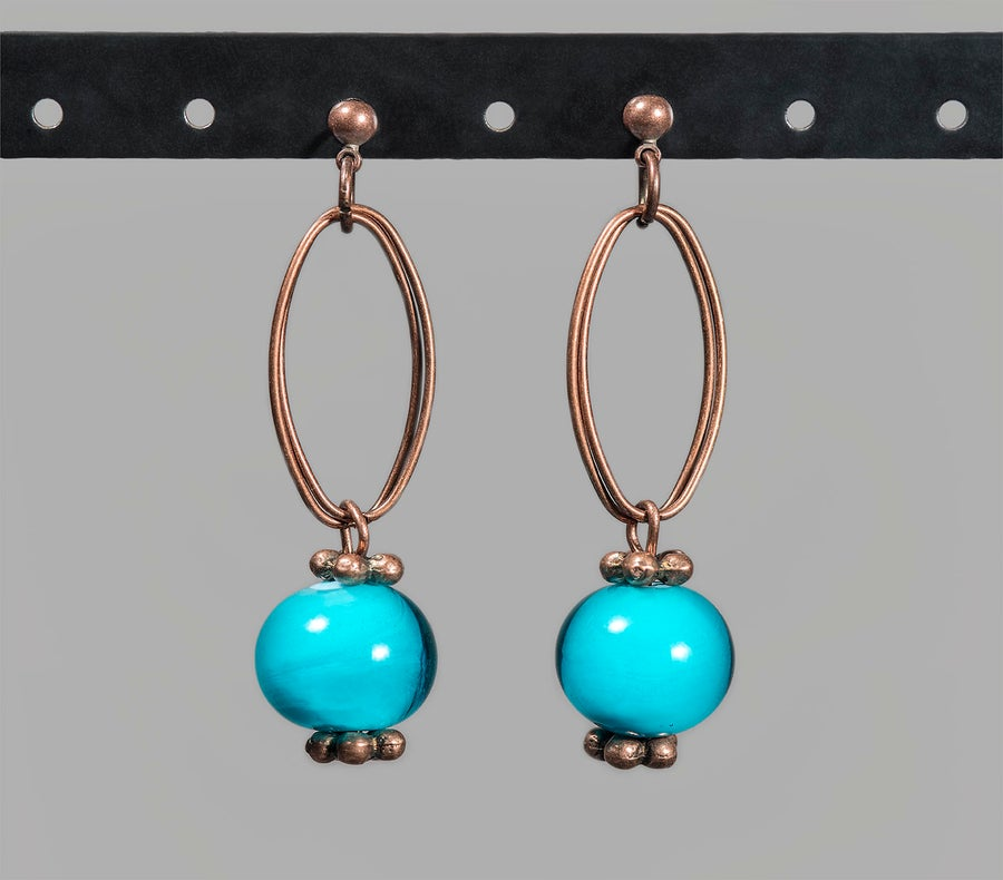 Image of orecchini GIPSY in perle di vetro di Murano