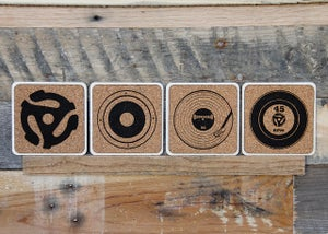 Image of Handmade Cork and Wood Coasters - Audio Designer Quartet (Turntable, Record, Speaker, 45 Adapter)