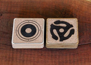 Image of Handmade Cork and Wood Coasters - Audio Designer Quartet (Turntable, Record, Speaker, 45 Adapter)