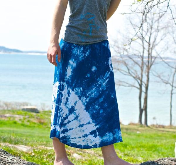 Image of +Indigo Shibori Skirt+ Hand Dyed, one of a kind bias cut tulip skirt