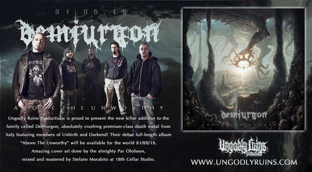 "Image of Demiurgon debut album ""Above the Unworthy"" /// OUT 31 MAY ///"