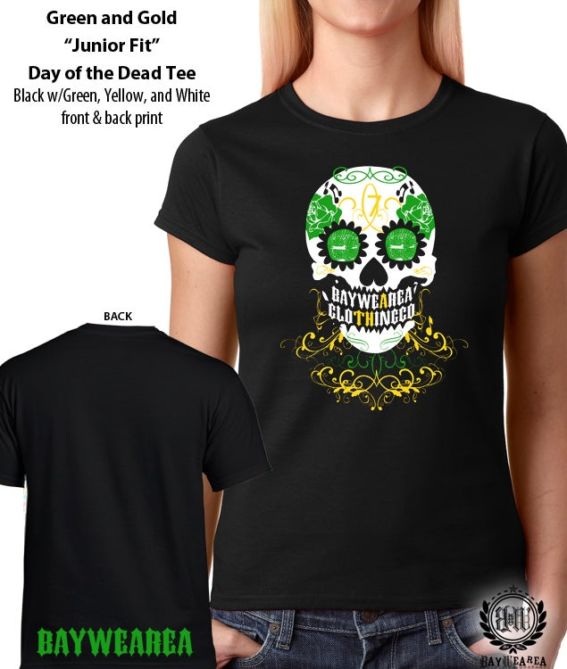 Image of Green and Gold Oakland A's Day of the Dead Women's Soft-Style Tee Shirt
