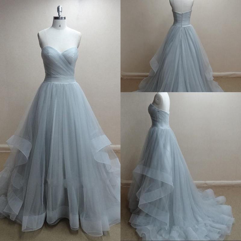 Image of Hot Sale Grey Tulle Sweetheart Ball Gown Prom Dress With Sweep Train
