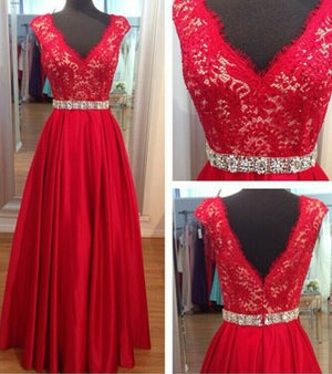 Image of Red Ball Gown V Neck Beaded Waistband Evening Gown With Lace Bodice
