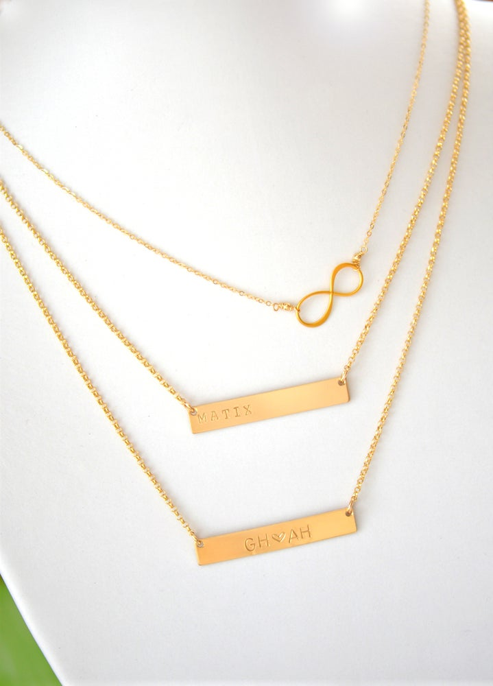Image of Double Bar Necklace & Infinity Layering Necklace Set - NamePlate & Infinity Necklace Set