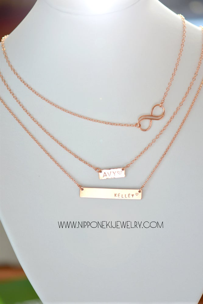 Image of Tiny, Heavy Bar / Nameplate & Double Infinity Layering Necklace Set
