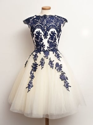 Image of Cap Sleeves Tulle Short Prom Dress With Navy Blue Lace Appliques